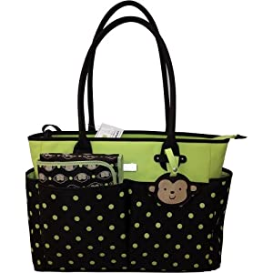carters monkey tote bag brown green dot. Black Bedroom Furniture Sets. Home Design Ideas
