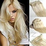 *51cm*60 Platinum Blonde Clip In Extensions Set 100% Echthaar 7