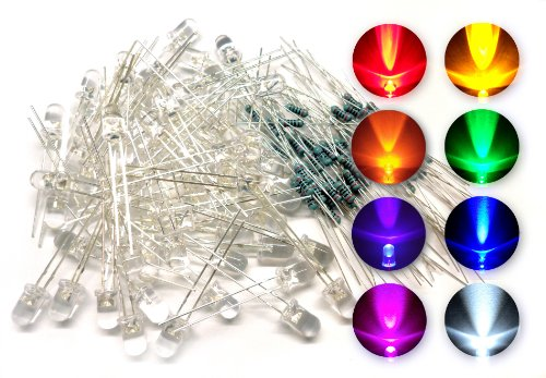microtivity IL188 5mm Assorted Clear LED w/ Resistors (8 Colors, Pack of 80)