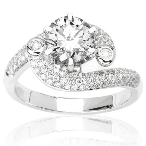 Pave And Bezel Set Diamond Engagement Ring In 14k W Gold with a 1.4, D, , SI2, EGLUSA, Certified