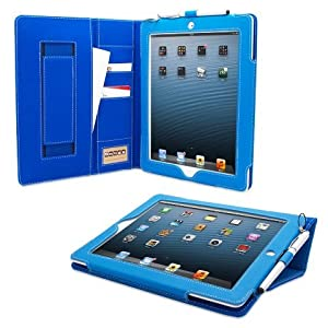 Snugg iPad 3 & 4 Case - Executive Smart Cover With Card Slots & Lifetime Guarantee (Electric Blue Leather) for Apple iPad 3 & 4