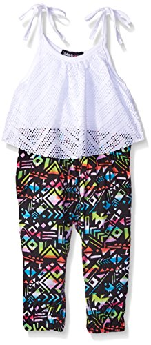 Limited Too Baby Solid Zig Zag Lace Top and Aztec Ankle Length Printed Romper, White, 12 Months