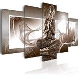 Grand Format Impression sur toile Images 5 Parties Buddha Tableau 020113-266 200x100 cm B&D XXL