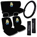Universal Studio Licensed Design Minions Seat Covers for CAR SUV VAN + Steering Wheel Cover + Belt Pads + 2 Head Rest