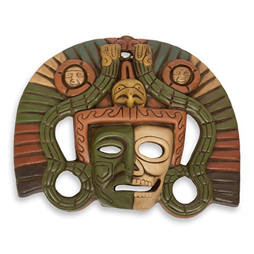 NOVICA Decorative Ceramic Mask, Green, 'Aztec Duality'