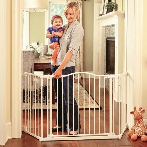 North States Industries Supergate Deluxe Décor Metal Gate, Linen, Hardware-Mount