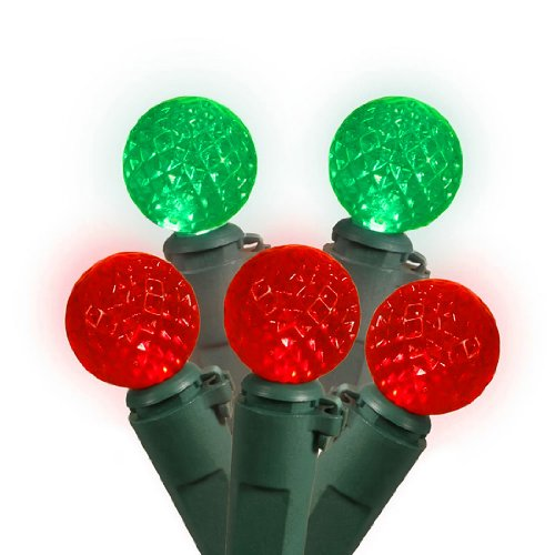 Set Of 50 Red And Green Led G12 Berry Christmas Lights - Green Wire