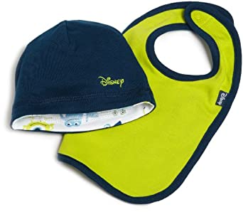 Disney Baby-Boys Newborn Disney Pixar Monsters, Inc Reversible Cap and Bib Set, Navy/Green, One Size