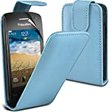 ( Baby Blue ) Blackberry Curve 9380 Premium Stylish Protective Faux Leather Flip Skin Case Cover & LCD Screen Protector Guard by Spyrox