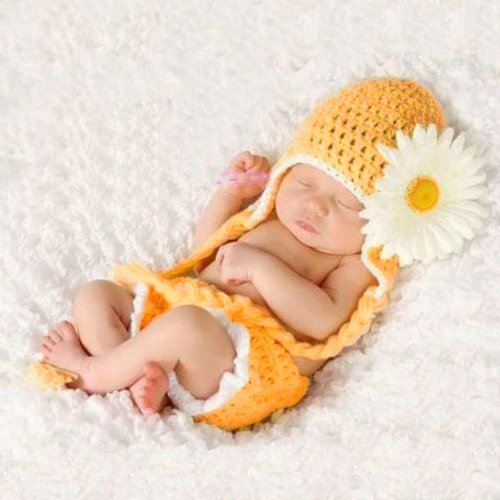 Foxnovo Lovely Sunflower Style Baby Infant Newborn Hand Knitted Crochet Hat Costume Baby Photograph Props Set