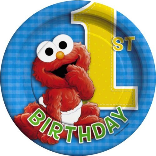 Sesame Street 1st Birthday Dessert Plates include 8 paper dessert plates featuring Baby Cookie Monster Baby Big Bird and Baby Elmo ...  sc 1 st  Birthday Wikii & Sesame Street First Birthday Party Supplies | Birthday Wikii