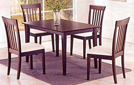 Solid Wood Dining Table and 4 High Back Wood Lido Dining Chair in Cappuccino Finish ADS90174-bk,90299-bk