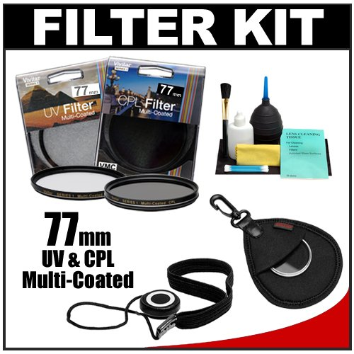 Vivitar Series 1 77mm Multi-Coated UV & Circular Polarizer Glass Filter with + Filter Case + CapKeeper + Lens Cleaning Kit for Canon, Nikon, Sony, Olympus & Pentax Lenses