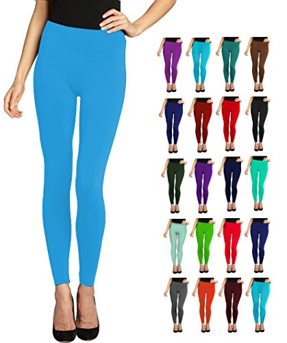 Lush Moda Seamless Full Length Basic Leggings - Variety of Colors - Aqua, One Size fits Most (XS - XL)