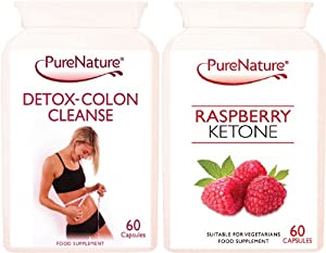 Pure Raspberry Ketone and Detox-Colon Cleanse Combo to Support Weight Loss & Slimming 2 x 60 Capsules Made in the UK Suitable for Vegetarians. Free UK Postage