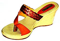 Celebrity Girls Brown Beige Synthetic Wedges - 3 UK