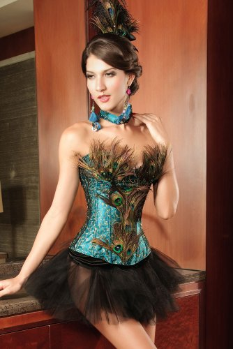 Ladies Faux Peacock Feather Green Gold Corset Burlesque Moulin