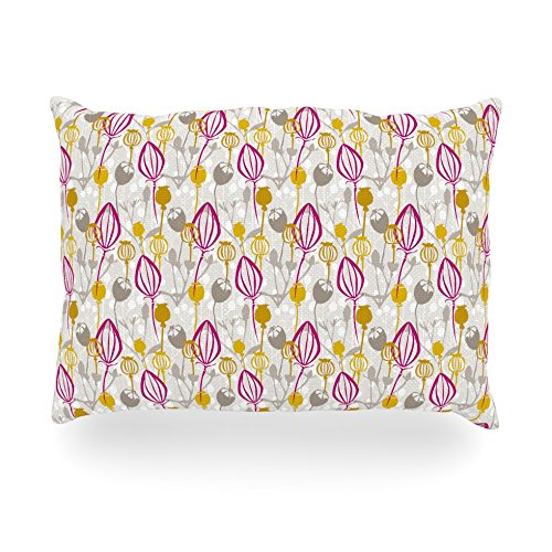 "Kess Inhouse Julie Hamilton ""Mulberry"" Pink Yellow Oblong Rectangle Outdoor Throw Pillow, 14 By 20-Inch front-990200"