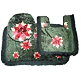 3 Piece Red Flower Bathroom Bath Mat, Pedestal Mat and Toilet Seat Cover Set (See description)by Universal-Textiles