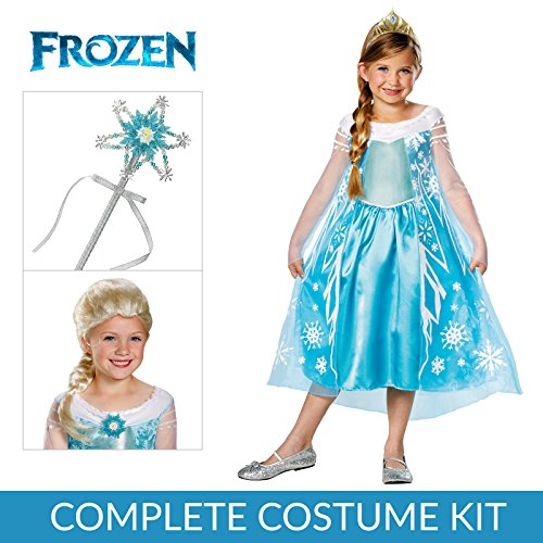 Girl's Frozen Elsa Deluxe Premium Costume Kit with Wig and Wand - Small