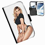 Hairyworm-Beyoncé Samsung Galaxy Note 2 leather side flip wallet cover case for Samsung Galaxy Note 2 phone