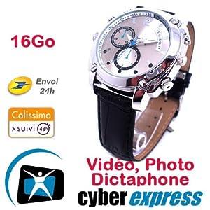Montre Caméra Cachée Espion 16 Go Full HD 1920x1080p Vision Nocturne Modèle CuirHD VR