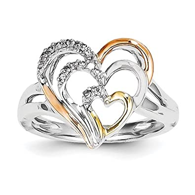 Sterling Silver & 14k Yellow & Rose Gold Heart Diamond Ring