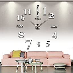 Syarin Luxury Large DIY 3D Wall Clock Home Decor Bell Cool Mirror Stickers Art Watch (Silver)