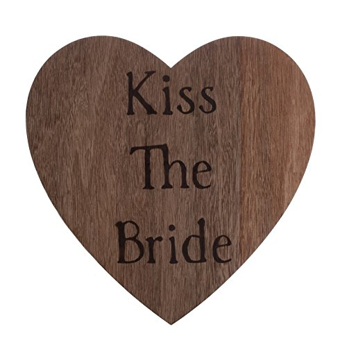 Koyal Wholesale Double Sided Wood Burned Heart Sign, 'Kiss The Bride/Thank You Photo Prop'