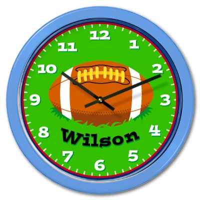 Limited Edition I Love Football Personalized Clock for Kids (Light Blue Case)