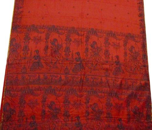 Dark Rust Orange Indian God Print Vintage Silk Sari Used Recycled Craft Fabric Curtain Drape Saree Scrap SZ- Approx. 1.16 Yard X 5 Yards