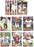 2010 Topps Washington Redskins Complete Team Set of 12 cards including Donovan McNab, Clinton Portis, Larry Johnson, Santana Moss, Trent Williams Rookie & more