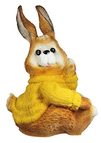 Statuetta coniglio Puschel giallo con maglione rammler conigli coniglietto pasquale decorazione giardino Pasqua