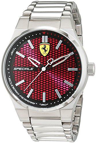 Reloj Cuarzo Ferrari Para Hombre Con  Rojo Analogico Y Plata Acero inoxidable 0830357