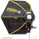 SMDV DIFF60 Speedbox Diffuser-60 - Professional 24-Inch Rigid Quick Folding Hexagonal Softbox for Speedlight Flash (Black)
