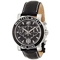 [ハンティングワールド]HUNTING WORLD 腕時計 イリス ブラック 黒革 クオーツ HW913BK メンズ 【正規輸入品】