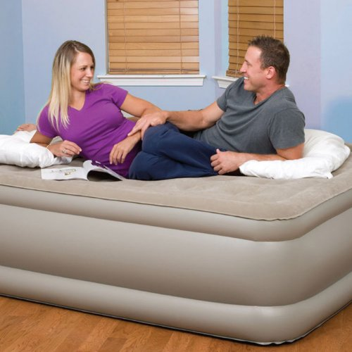 Pure Comfort Raised Suede Top Air Bed With Built In Pump (Tan, Queen) front-611048