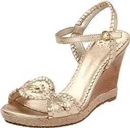 Jack Rogers Women\'s Clare Rope Wedge Sandal,Platinum,7.5 M US