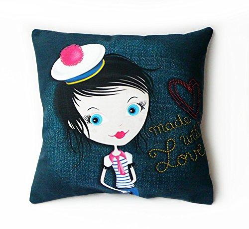 """Cuscino da ragazza Pompon """"Miss"""", 23 cm x 23 cm, by Kalam, realizzata in Francia"""