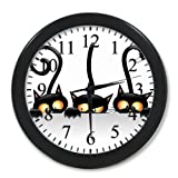 Modern Home Decor House And Office Wall Clock Halloween Black Cat Round Elegant Wall Clock For Kitchen
