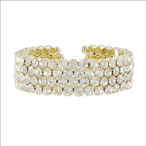 JOA Four Line Crystal Stone Cuff Bracelet #041379