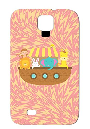 Noah Ark, Cute Animals, For Kids Ark Animals Lion Nature Boat Giraffe Ship Wildlife Noahs Ark Elephant Bunny Orange Case Cover Sumsang Galaxy S4 front-847000