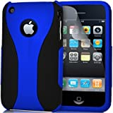 Supergets® Apple Iphone 3gs / 3g Dual Layer Hard Hybrid Armour case cover Screen Protector And Supergets Polishing Cloth -Dark Blue
