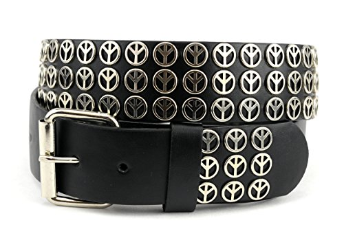 NYfashion101 Triple Row Peace Sign Studded Removable Roller Buckle Belt L