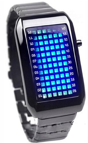 Parnis 72 Blue Led Binary Digital Watches Men'S Stainless Steel Silver Wrist Watch