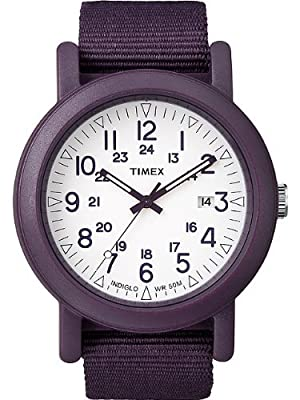 Click for Timex Unisex Urban Camper White INDIGLO Dial Resin Case Purple Nylon Strap Watch T2N429