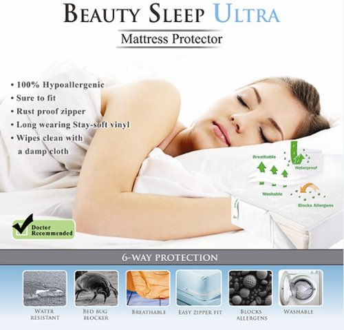 Doctor Recommended Beauty Sleep Ultra Hypoallergenic, Waterproof, Bedbug Blocker Mattress Protector with Zipper Queen Size