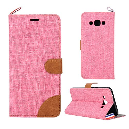 Leather Case Cover Custodia per Samsung Galaxy A8 ,Ecoway Caso / copertura / telefono / involucro del modello con a Bookstyle tasche carte di credito funzione con interno morbido in TPU Portafoglio Supporto Slot Schede Protettiva Bumper Caso , cuciture colore Denim Leather Case Cover Custodia - Rosa / marrone