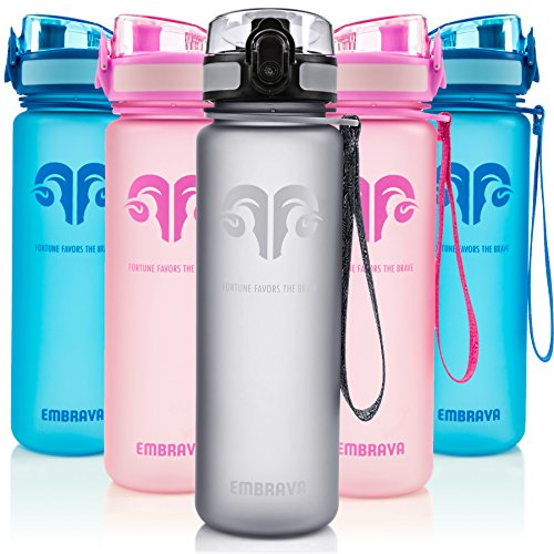 Best Sports Water Bottle - 18oz Small - Eco Friendly & BPA-Free Plastic - Fast Water Flow, Flip Top Lid, Opens With 1-Click (Gray) (Best Water Bottle Filter compare prices)