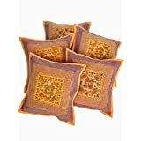 Rajrang Cotton Embroidered Mirror Work Sofa Cushion Cover Set Of 5 Pcs Set Of 5 Pcs